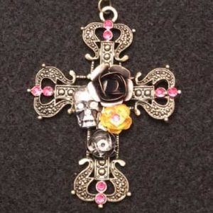 Jewelry - antique bronze colored cross with flowers